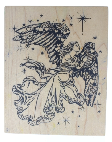 Romantic Flying Angel with a Harp PSX  Wooden Rubber Stamp