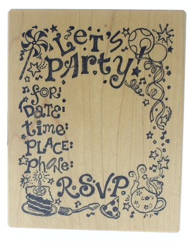 Let's Party Invitation with RSVP PSX K-5566  Wooden Rubber Stamp