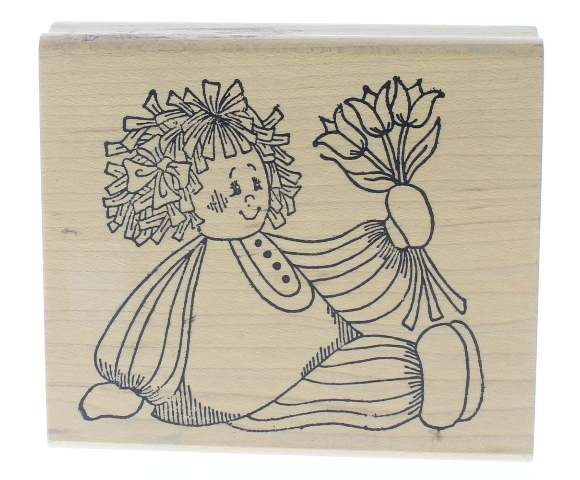 Holly Berry House Raggedy Girl Doll with Tulip Flowers Wooden Rubber Stamp