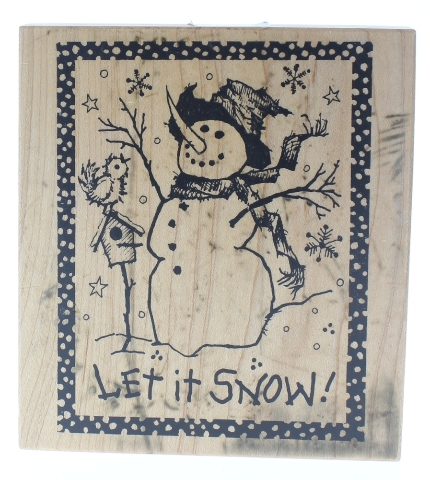 PSX Let it Snow Snowman with Bird and Birdhouse Wooden Rubber Stamp