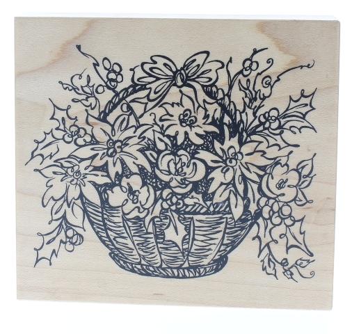 Psx Basket of Flowers Flower Arrangement Wooden Rubber Stamp