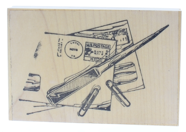Letter Opener with Mail and Paper clips Office Notes Wooden Rubber Stamp