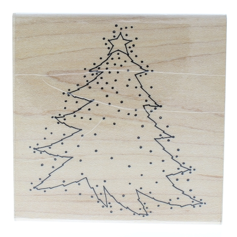 Annette Allen Watkins Ditsy Dot Christmas Tree with Star Wooden Rubber Stamp