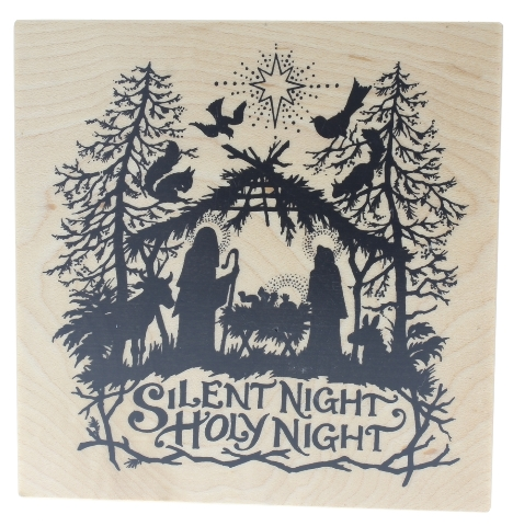 PSX Silent Night Holy Night K-1196 Wooden Rubber Stamp