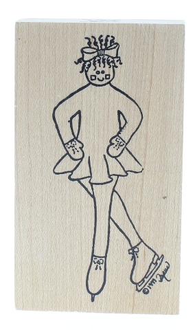 Simply Designs Female Ice Skating Girl Wooden Rubber Stamp