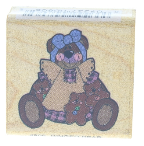 Ginger Bear Momma with Babies Baby Made in USA Wooden Rubber Stamp