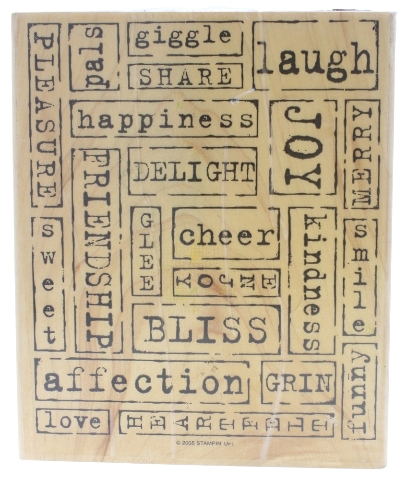 Stampin Up Word by Word Happy Vibes Background Wooden Rubber Stamp