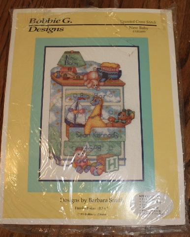 Counted Cross Stitch Bobbie G Designs New Baby Announcement New Kit