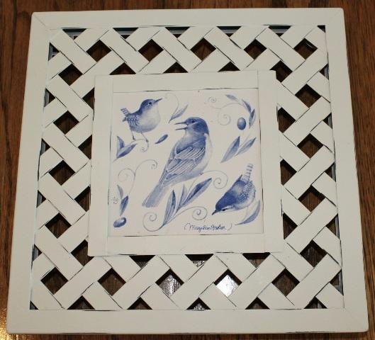 Hallmark Marjolein Bastin Nature's Sketchbook Trivet Blue Birds Lattice Weave Metal Frame