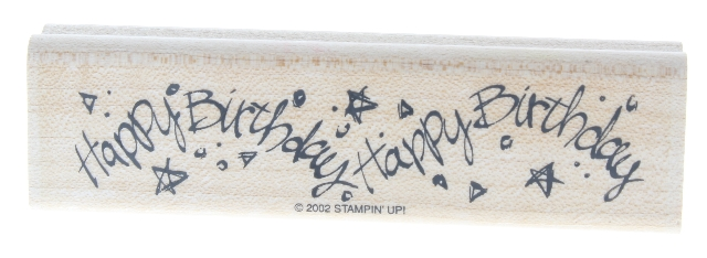 Stampin Up Happy Birthday Stars Whimsical Writing 2002 Wooden Rubber Stamp