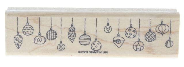 Stampin Up Holiday Ornament Border Trim 2003 Wooden Rubber Stamp