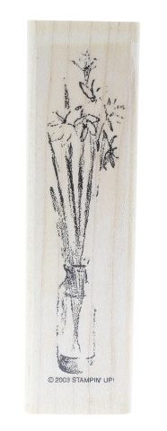 Stampin Up Sketched Long Stem Floral Daisies in a Vase Wooden Rubber Stamp