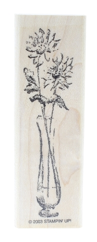 Stampin Up Floral Flowers in a Glass Vase Wooden Rubber Stamp