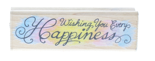 Fun Stamps Wishing You Every Happiness 1994 Writing Words Wooden Rubber Stamp