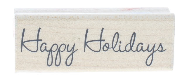 Stampabilities Happy Holidays 02 DR1106 Wooden Rubber Stamp