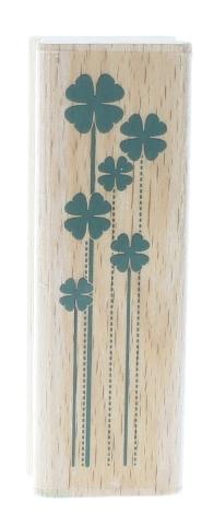 Studio G Shamrock Cluster 4 Leaf Clovers Luck  Wooden Rubber Stamp