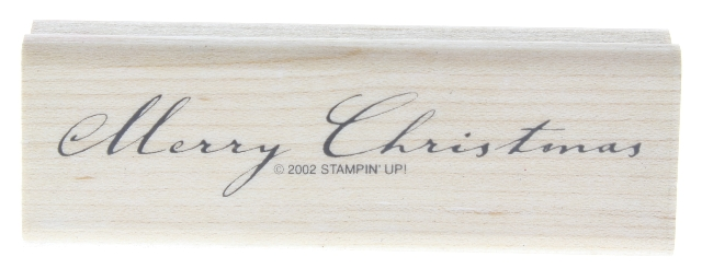 Stampin Up 2002 Merry Christmas Cursive Wooden Rubber Stamp