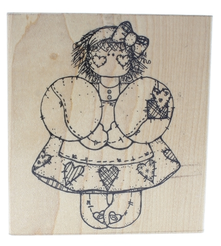 Dots Whimsical Girl with Heart Dress Miss February Aubrey Wooden Rubber Stamp