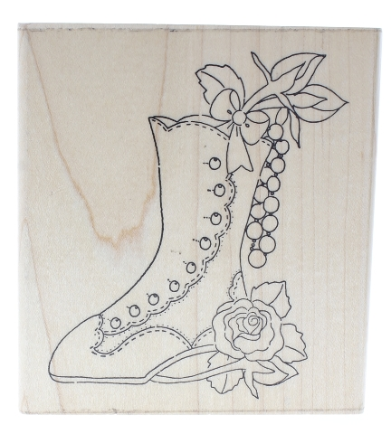 Dots Whimsical Victorian Boot Shoe with Roses Wooden Rubber Stamp
