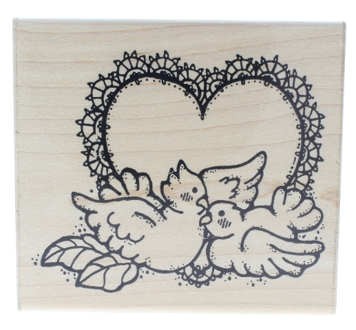 Dots Love Birds Lace Doily Heart R 120 Wooden Rubber Stamp