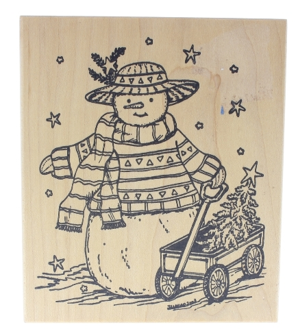 Northwoods Rubber Stamp Snowman with a Wagon and Tree Wooden Rubber Stamp