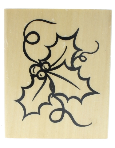 Anitas 1999 Holly Berry Leaves Holiday Christmas Theme Wooden Rubber Stamp