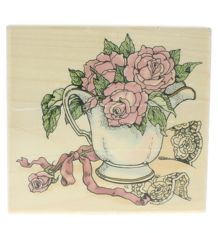 Uptown Rubber Stamps Rose Pitcher Display L25119 Wooden Rubber Stamp
