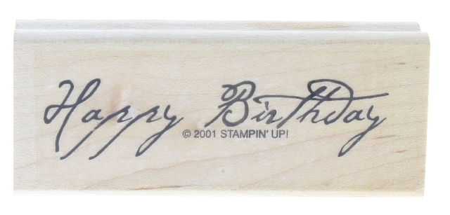 Stampin Up 2001 Happy Birthday Words Writing Wooden Rubber Stamp