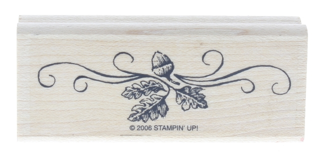 Stampin UP 2006 Acorn and Leaves Swag Wooden Rubber Stamp