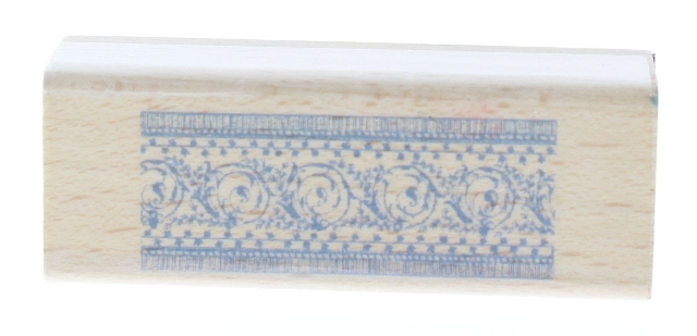 Decorative Border of Swirls and Dots Wooden Rubber Stamp