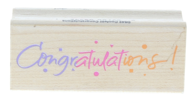 Confetti Congratulations D542 Hero Arts Words Writing Wooden Rubber Stamp