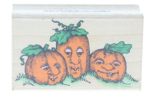 Hero Arts Three Pumpkin Faces D175 Wooden Rubber Stamp