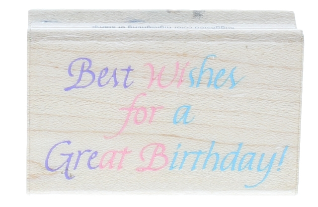 Best Wishes for a Great Birthday! Hero Arts Wooden Rubber Stamp