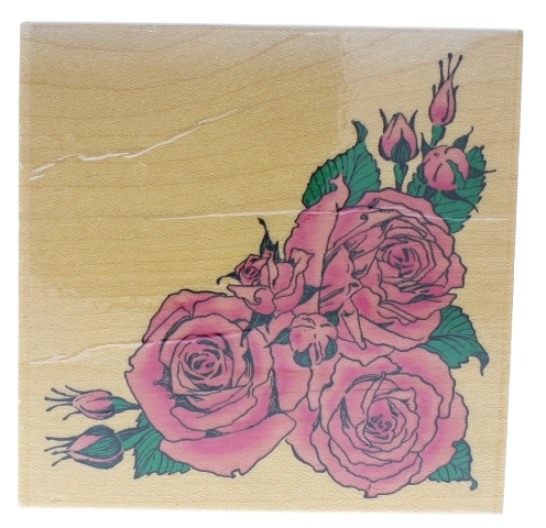 Stamps Happen Embossing Arts 1999 Rose Corner Border Wooden Rubber Stamp