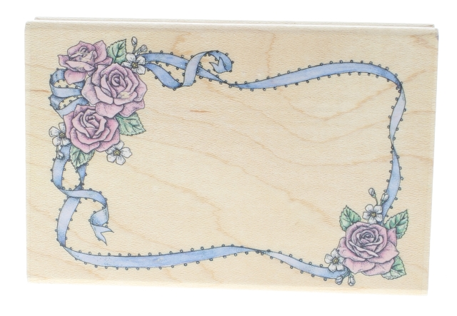 Romantic Rose Frame with Ribbon A801F Wooden Rubber Stamp
