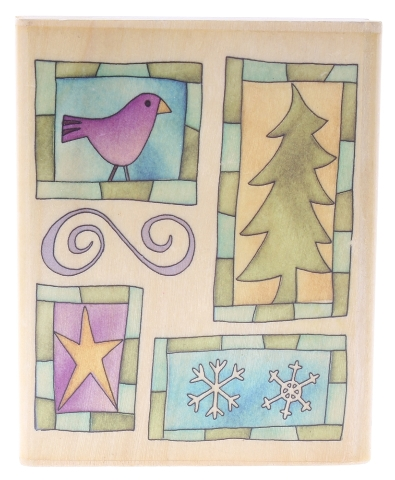 Uptown Rubber Stamps Rustic Window Tree Bird Collage Wooden Rubber Stamp