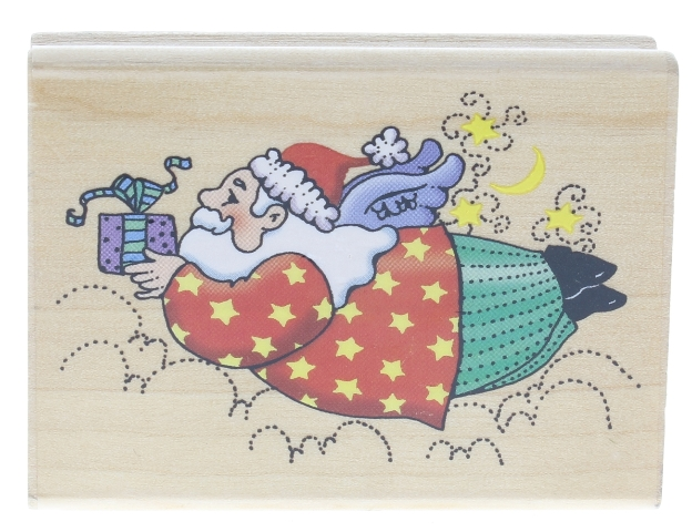 Smirking goddess Studio Flying Santa with wings and Gift Wooden Rubber Stamp