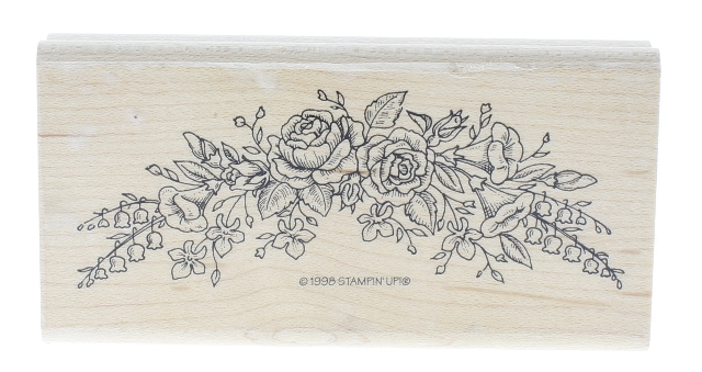 Stampin Up 1998 Rouse Bouquette Swag Wooden Rubber Stamp