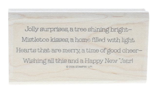 Stampin UP 2006 Jolly Surprises Happy New Year Wooden Rubber Stamp