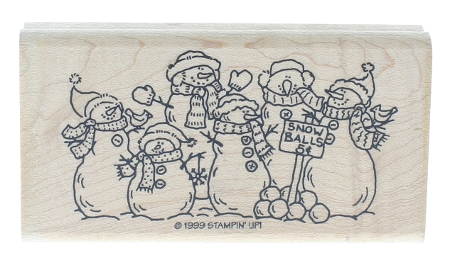 Stampin UP 1999 Snowballs for Sale Snowman Family Wooden Rubber Stamp