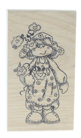 Whimsical Little Girl with Flowers in hand Wooden Rubber Stamp