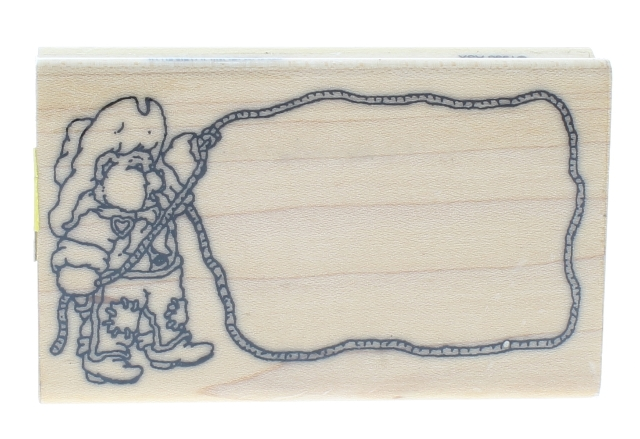 Whimsical Little Rodeo Cowboy Rope Frame Wooden Rubber Stamp