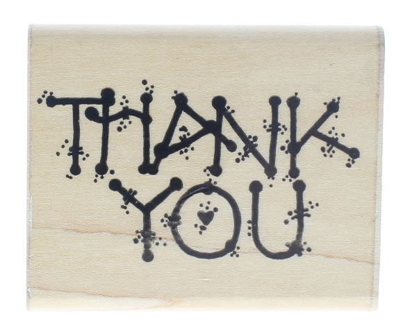 Dots Thank You N 160 Wooden Rubber Stamp