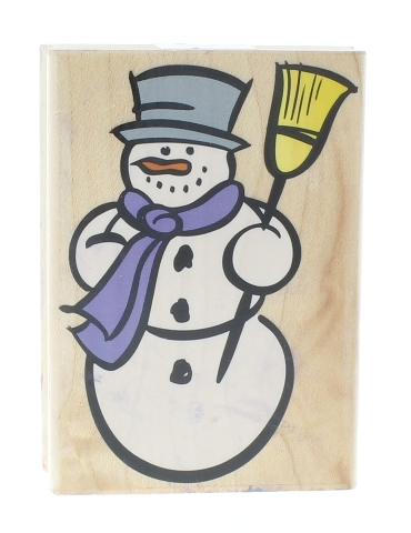 Hero Arts Winter Snowman with a Broom G1794 Wooden Rubber Stamp