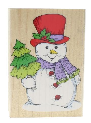 Hero Arts Jumbo Winter Snowman and Tree H861 Wooden Rubber Stamp