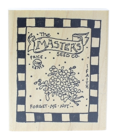 Grubbies Masters Seeds and Company Forget-me-not Wooden Rubber Stamp