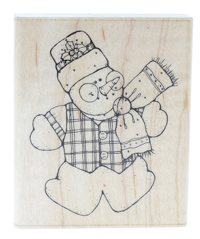 JRL Design Joyful Snowman N218 Wooden Rubber Stamp