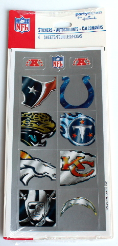 Hallmark Party Express NFL Stickers 4 Sheet Pack Chiefs Broncos