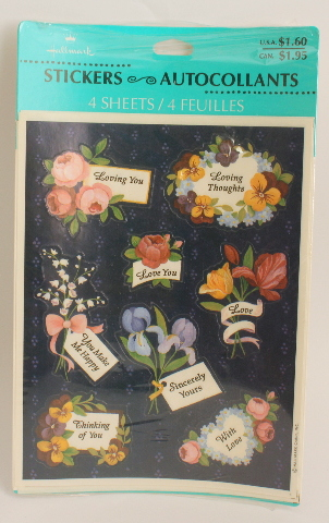 Hallmark 4 Sheet  Loving You Loving Thoughts Sincerely Yours With Love
