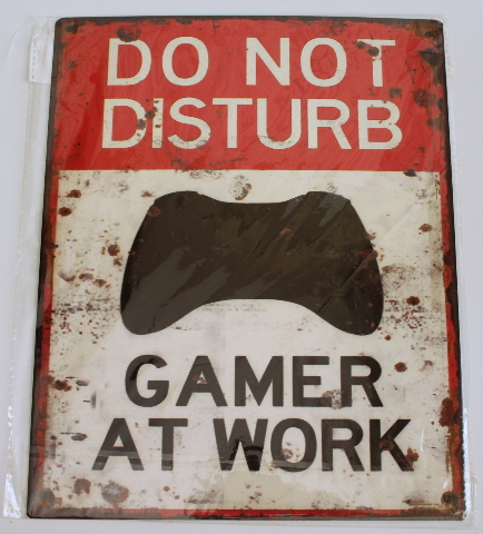 Do Not Disturb Gamer at Work Metal Sign Pub Game Room Bar